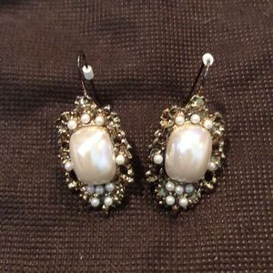 Vintage Gold Plated and Pearl Dangle Earrings